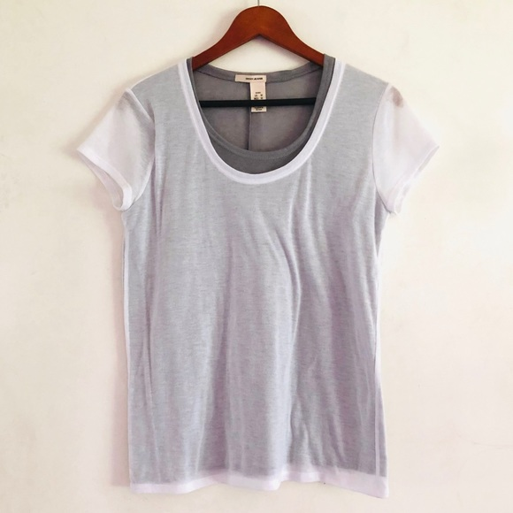 Dkny Tops - dkny White & Gray Double Layer Breezy Mesh Shirt